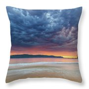 Swirling Cloudy Sunrise Seascape Throw Pillow