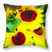 Swirling Sunflowers Throw Pillow