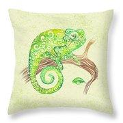 Swirly Chameleon Throw Pillow