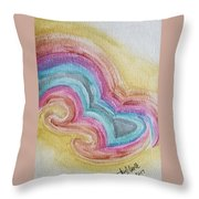 Swirly Rainbow Throw Pillow