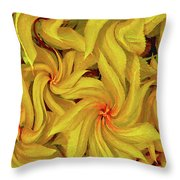 Swirly, Yellow Leaves Throw Pillow
