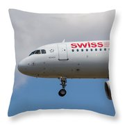 Swiss Airlines Airbus A320 Throw Pillow