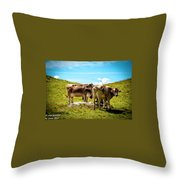 Happy Swiss Cows Throw Pillow