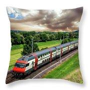 Swiss Passenger Train Throw Pillow