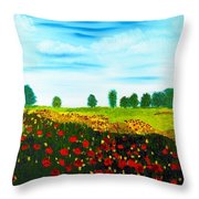 Swiss Poppies Throw Pillow