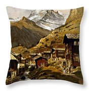 Swiss Travel Poster, 1898 Throw Pillow