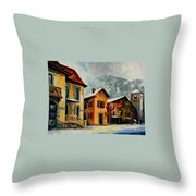Switzerland - Town In The Alps Throw Pillow