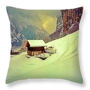 Switzerland Alps Grutschap Alpine Meadow Winter  Throw Pillow