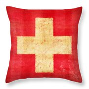 Switzerland Flag Throw Pillow by Setsiri Silapasuwanchai