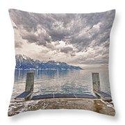 Switzerland, Montreux, Dock On The Lake. Throw Pillow