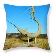 Swordfish Harpooner Throw Pillow