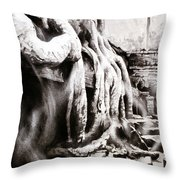 Sycamore Tree Overgrowing Ruins- Cambodia Throw Pillow