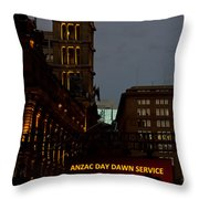 Sydney Clock On Anzac Day At Dawn Throw Pillow