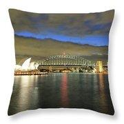 Sydney Harbor At Blue Hour Throw Pillow