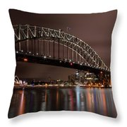 Sydney Harbor At Night Throw Pillow