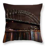 Sydney Harbor At Night With Train Throw Pillow