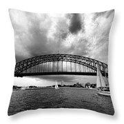 Sydney Harbor Bridge Black And White V2 Throw Pillow
