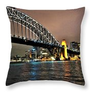 Sydney Harbor Bridge Night View Throw Pillow