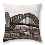 Sydney Harbor Bridge Platinum Throw Pillow