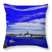 Sydney Harbour And Flying Flag Throw Pillow