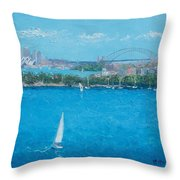 Sydney Harbour And The Opera House Vacation Throw Pillow