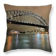Sydney Harbour At Night Throw Pillow
