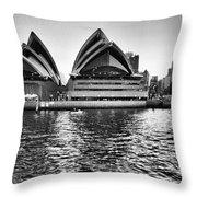 Sydney Opera House-black And White Throw Pillow