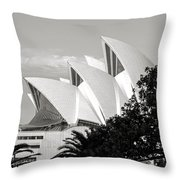 Sydney Opera House Black And White Throw Pillow