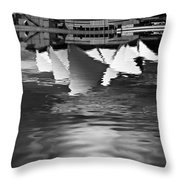 Sydney Opera House Reflection In Monochrome Throw Pillow