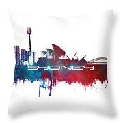 Sydney Skyline City Blue Throw Pillow