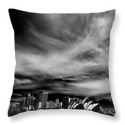 Sydney Skyline With Dramatic Sky Throw Pillow