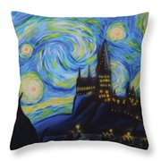 Syfy- Starry Night In Hogwarts Throw Pillow