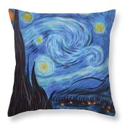 Syfy- Starry Night In Mordor Throw Pillow