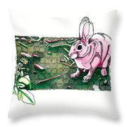 Sylvilagus Audubonii And Sinapis Arvensis At The Pinnacles Throw Pillow