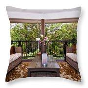 Symmetrical Balcony Throw Pillow