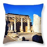 Synagogue In Ancient Capernaum Throw Pillow