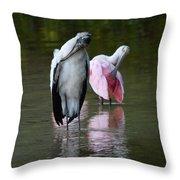 Synchronized Preening Throw Pillow