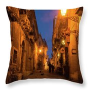 Syracuse Old Town Night Walk - Three Cats And A Couple Throw Pillow