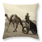 Syria: Camel Race, C1938 Throw Pillow