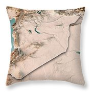 Syria Country 3d Render Topographic Map Neutral Border Throw Pillow