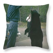 T-203503 Bear Feeding In The Old Days Throw Pillow