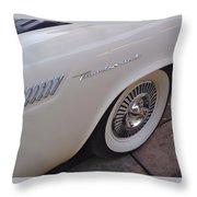 T-bird White Throw Pillow