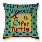 T Is For Turtle Throw Pillow