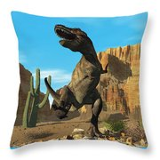 T-rex Throw Pillow by Corey Ford
