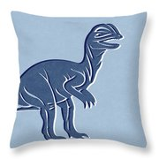 T-rex In Blue Throw Pillow by Linda Woods