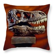T Rex Skull Throw Pillow