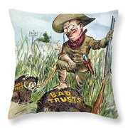 T. Roosevelt Cartoon, 1909 Throw Pillow