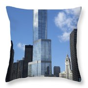 T Tower Chicago River Throw Pillow