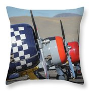 T6 Flight Line At Reno Air Races Throw Pillow