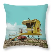 T7 Lifeguard Station Kapukaulua Beach Paia Maui Hawaii Throw Pillow